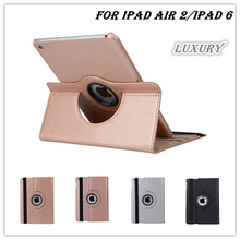 freeshipping new Tyrant gold color 360 degree rotate PU leather case cover table case stand for Apple iPad air 2 case ipad 6