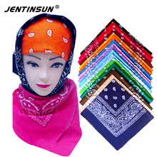 2017 New Fashion Small Square Neck Warmer Scarf Cotton 55cm*55cm Black Red Paisley Printing Bandanas For Women/Men/Boys/Girls(China)