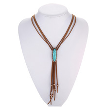 Collar de La Borla de cuero Occidental Bolo Tie Collar de la Turquesa Boho Hippie Indio Navajo Native American Jewelry Online Tiendas India