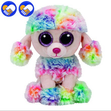 A TOY A DREAM Poodle Beanie Boos Rainbow Glitter Eye Pink Poodle Plush Animals Plush Toys Big Eye Soft Toys for Multi Dog