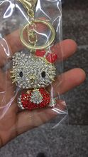 4pcs 58*45mm Free Shipping wholesale key chains, alloy rhinestone hello kitty key chains in golden tone  gift
