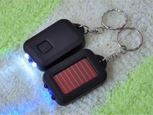 Free shipping  2015 New Arrive Portable  Mini Solar Power Rechargeable LED Flashlight With Keychain