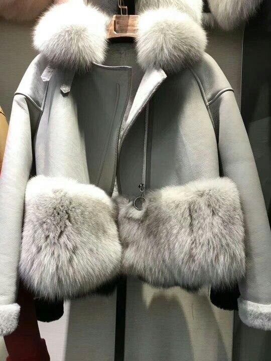 genuine sheep leatherskin jacket fox fur cooar coats (35)