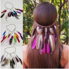 Hot sale Women Feather headwear Hair Accessories Peacock Feather Head Bands Indian Bohemian party hair accessories  F0229