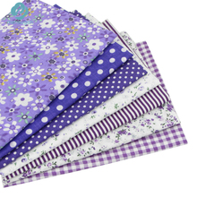 7pcs Purple 100% Cotton Quilting Fabric for DIY Sewing Patchwork Kids Bedding Bags Tilda Doll Baby Cloth Textiles Fabric 50*50cm(China)