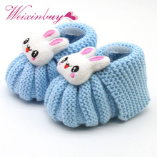 WEIXINBUY Infant Toddler Girls Winter Warm Booties Girl Cute Rabbit Snow Crochet Knit Fleece Shoes Baby Walker Crib Boots(China)