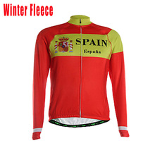 new spain team red Long sleeves Cycling jersey men winter fleece & no fleece ropa ciclismo Bicicleta MTB mountain bike clothing