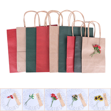 1PCS 3 Sizes Paper bag with handle Flower Christmas wedding party gifts candy paper bags Multifunction bags 3 Colors(China)
