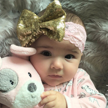 2017 NEW Chic Bow with Lace Headband Big Bow Lace Headband Newborn Girl Headband Kids Sequin Headwear Hair Accessories 1 PC(China)