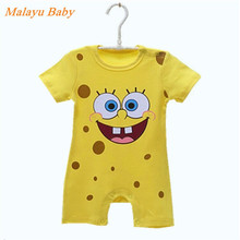 Malayu Baby brand 2017 summer burst baby cotton short-sleeved jersey, cartoon sponge baby fashion even clothes 0-12 months(China)