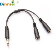 TOP QUALITY 3.5mm Stereo Audio Male to 2 Female Headset Mic Y Splitter Cable Adapter APR 6