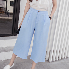 Kesebi 2017 Summer New Fashion Women Korean High-waisted Wide Leg Pants Female Casual Solid Color Bottoms Trousers JE220#8515