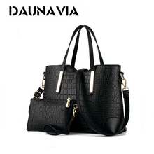DAUNAVIA 2017 women handbag leather hand bag michael crocodile crossbody bag shoulder messenger bags clutch tote+purse 2 ND109(China)