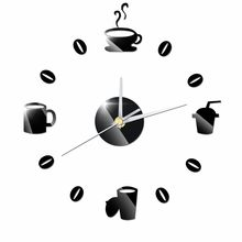Coffee Cups Beans 3D DIY Wall Clock Acrylic Stickers Quartz Modern Home Decoration Retro Kitchen Wall Clock(China)