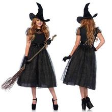 2017 New Dark Witch Halloween Cosplay Costume Game Uniforms Role Play Dresses Witch Funny Clothing