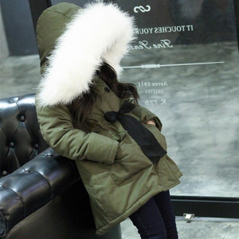Buenos Ninos 4-14T girls army green cotton-padded white false fur collar waist bow autumn winter fashion coats&amp;jackets 40Îäåæäà è àêñåññóàðû<br><br>