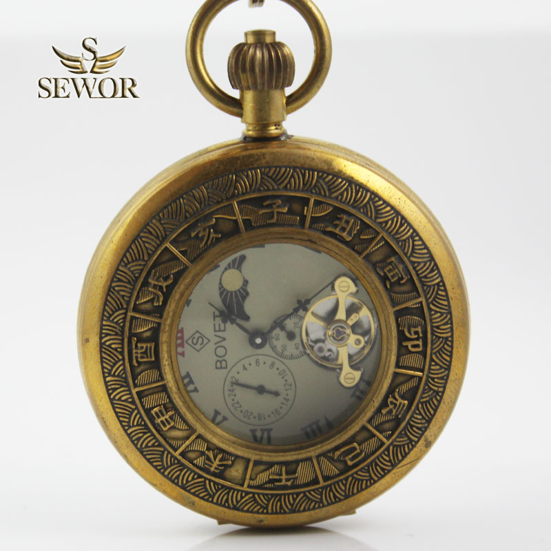 SEWOR 2018 Top Brand Classical Chinese Temperament with three display mechanical Tourbillon moonphase pocket watch C227<br>