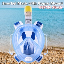With GoPro Camera Mount Seaview 180 Snorkel Mask Panoramic Full Face Design Scuba Diving Snorkeling Set Masks For Kids & Adult