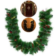 BESTOYARD Christmas Wreath Decorative Garland with Pine Cone Acorn Pine Needle LED Lights for Home Decoration(China)