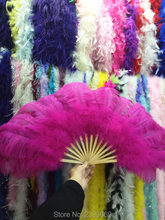 High quality super large dance ostrich feather fan belly dance from Halloween decorative jewelry set 15 bone fan(China)