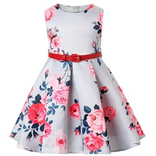 Sleeveless print princess Dress Girl Birthday Wedding Party Dresses Kids Tutu dress Costume Children Baby girls Clothes+belt - Mon Love store