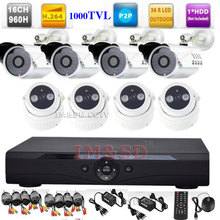 16CH 960H Full D1 DVR KITS High Resolution HD 1000TVL Security Outdoor Indoor 960H 16CH DVR Camera System