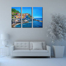 3 Pieces Wall Art Canvas Painting Mediterranean Sea Villa Picture Prints Seascape Painting Giclee Artwork For Modern Home Decor(China)