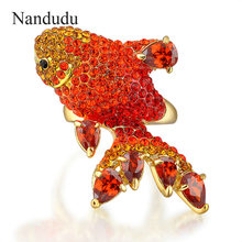 Nandudu Gorgeous Red Austrian Crystal Fish Rings New Women's Lady Fashion Jewelry Gift Animal Cocktail Ring R921