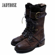 Jady Rose Retro British Women Martin Boots Genuine Leather Lace Up High Boots Female Designer Straps Platform Botas Mujer(China)