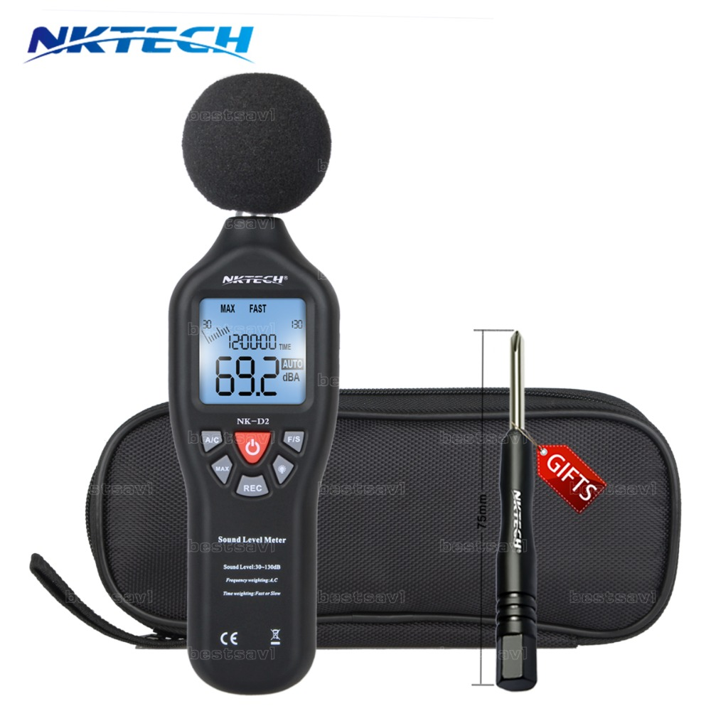 NKTECH 30-130dB LCD Digital Sound Level Decibel Meter Logger Tester Noise Measurement Time Display Auto Off Setup NKD2 VS MS6701<br>