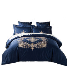 60s Long-staple cotton luxury Embroidery Beauty King Queen Size Bedding Set 4 pcs Duvet/ Comforter Cover Bed Sheet Set pillowcas(China)