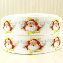 "1""(25mm) Christmas ribbon high quality printed polyester ribbon 5 yards, DIY handmade materials, wedding gift wrap,5Yc992(China)"