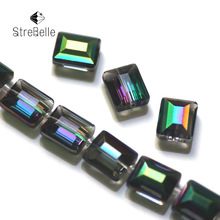 2017 new fashion malachite green plating beads semi-crystal glass create your style Square shape beads 26fa