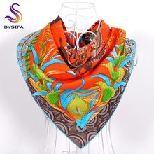 [BYSIFA] Fall Winter Ladies Twill Square Scarves Wraps 90*90cm Fashion Brand Accessories Orange Blue Silk Muffler Cape For Women
