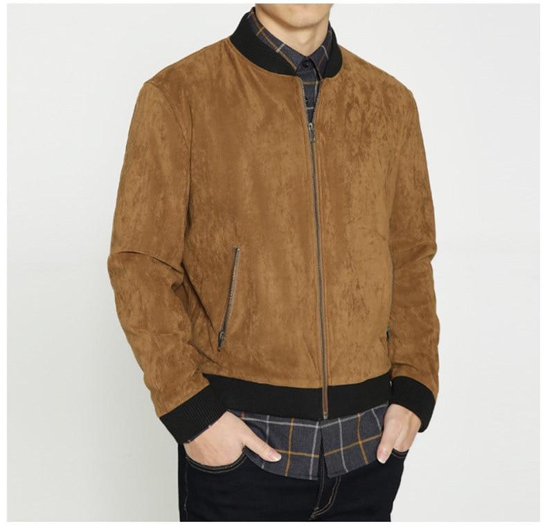 Jacket Men High Quality Autumn Baseball Collar Suede Spring Mens Jacket Coat Male Winter Warm Camel Size M L XL XXL 3XL 2018 New-01