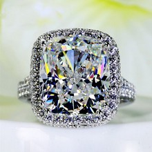 New Jewelry Women ring cushion cut 10ct 5A zircon Stone cz 925 Sterling Silver Engagement Wedding Band Ring