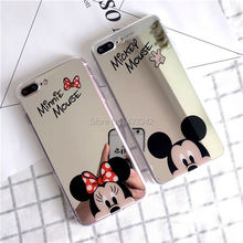 For iPhone 5 5S SE 6 6S 7 Plus 8 Cartoon Mickey Minnie Mouse Make Up Cosmetic Mirror Surface Soft TPU Silicone Cover Case(China)