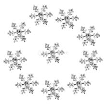 Bling Bling 10pcs 14mm Crystal SnowFlake Buttons For Scrapbooking Craft Hair Clip Decor Phone Case DIY Craft(China)