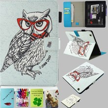 Tablet Case for Ipad 2 Cover Cute Draw Glasses Owl Leather PU Wallet Flip Case for Ipad 4 for ipad 3 Plate Inserted Soft TPU Bag(China)