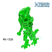 Buy PG1225 Green Transpatent One-Eyed Alien Halloween Gift Single Super Hero Action Figures Kids Toys Children Building Blocks Gift for $1.22 in AliExpress store