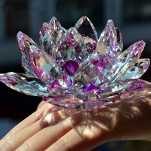 JQJ Purple Crystal Glass Lotus Flower Figurines DIY Feng Shui Stone Paperweight Home Desktop Decoration Wedding Souvenirs Crafts(China)