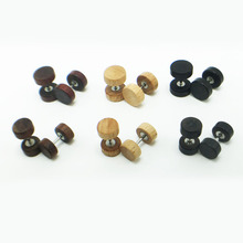 1 pair free shipping men's earrings ear studs earings natural wood black brown stainlee steel bar anti-allergic pendientes new(China)