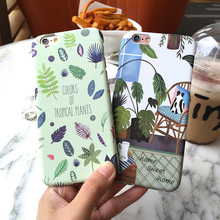 Hard plastic Plants Cactus Banana Leaves green Case For iphone 7 6 6S 4.7 / Plus 5.5 Home corner Cartoon chair Phone Back Cover