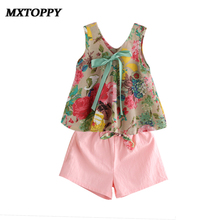 2017 Toddler Girl Summer Clothing Set Floral Rose Vest + Shorts Pink Kids Clothes Girls Shirt Pants Suit Brand Children Clothing(China)