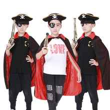 Kids Halloween Party Pirate Cosplay Cloaks Boys Girls Capes + Hat +Eye Mask Adult Pirate Costumes set(China)
