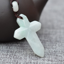 Drop Shipping 100% Natural Light green Jades Pendant Carved Jesus Cross pendant Necklace Lucky Amulet Men Women's Jades Jewelry