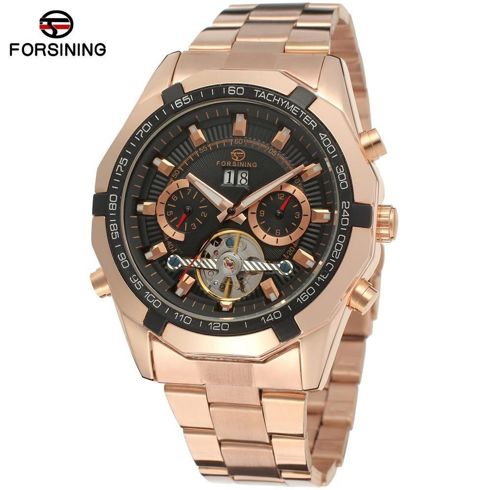 New Fashion Luxury Brand FORSINING Rose Gold Men Watch Automatic Mechanical Watches Hollow Men Tourbillon Mechanical Watch Gift<br>