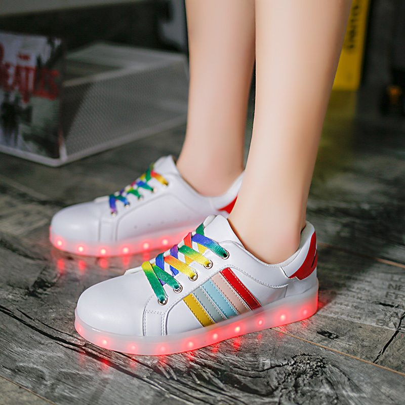 2017 usb led shoes Adult Glow Luminous Light Up Shoe Chaussure Lumineuse Colored Casual White Ladies zapatillas con luces<br><br>Aliexpress
