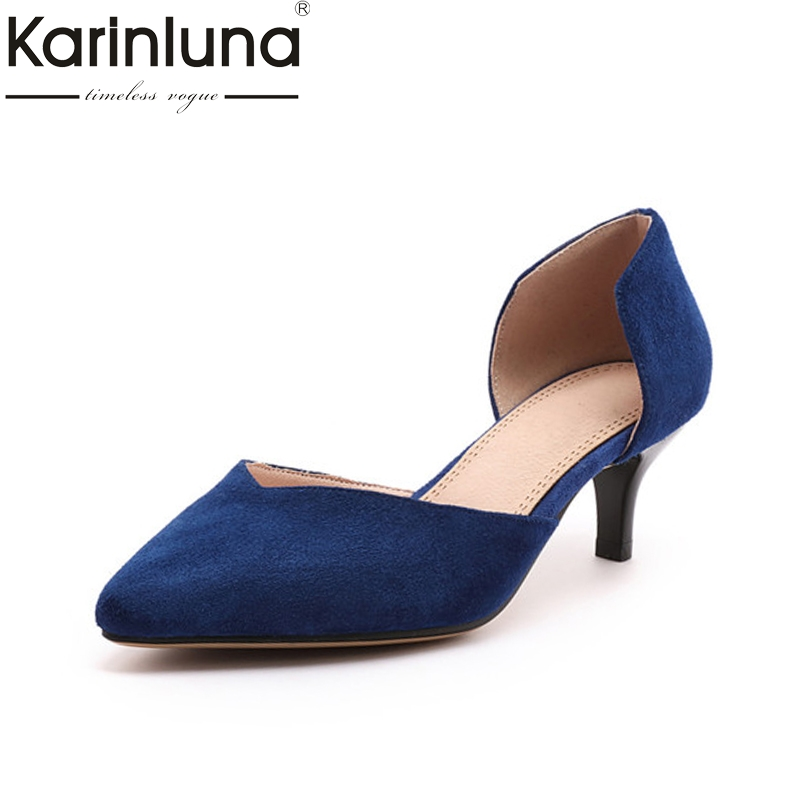 Karinluna Womens Sexy Pointed Toe Slip On Office Shoes Woman Quality Faux Suede Black Blue Gray Pumps Big Size 33-43<br>