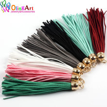 OlingArt 10CM 8pcs Suede Tassel For Keychain Cellphone Straps Jewelry making Charms,Leather Tassels With DIY Golden head 2017